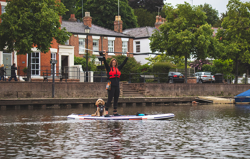 Reggie and Suzanne stand up paddle boarding Chester